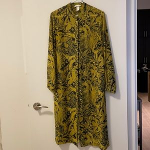 H&M Gold and Black Long Sheer Blouse